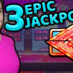 3 EPIC JACKPOTS on Double TOP DOLLAR in Las Vegas!