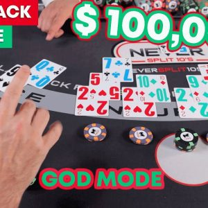 Miracle Blackjack Session - God Mode - $100,000 Blackjack Win Part 1 #128