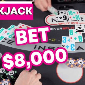 $8,000 BET on 1 Blackjack Hand - Crazy Wild Session + VR Blackjack announcement - #133