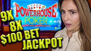 9X + 8X HANDPAY JACKPOT on $100/BET Video Poker!