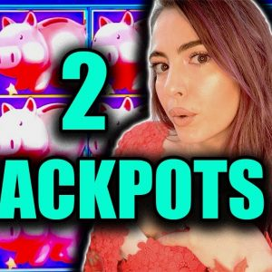 2 LARGE HANDPAY JACKPOTS in Vegas on Piggy Bankin'!