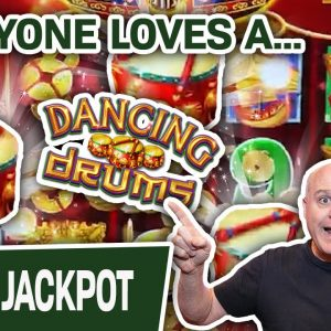 💙 EVERYONE Loves a Dancing Drums JACKPOT 🥁 $44 Spins & MULTIPLE Wins