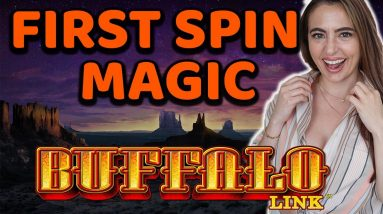 FIRST TIME & FIRST SPIN! 3 BONUS GAMES ON NEW BUFFALO LINK SLOT MACHINE!