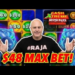 🐯 Double Screen Bonus Jackpot! 🐯 $48 Max Bet Spins on Cash Extreme Rising Twin Tigers