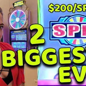 OMG $200 SPINS & My BIGGEST JACKPOTS EVER on WHEEL OF FORTUNE Slot Machine In VEGAS