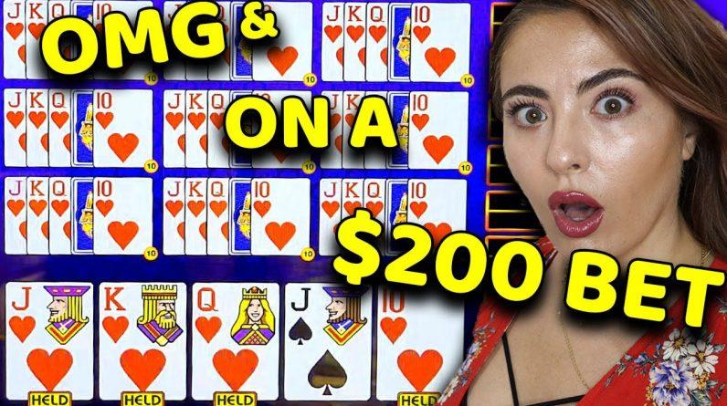 OMG!! 2 ROYAL FLUSHES on $200/BET on Video Poker in VEGAS!!! MASSIVE HANDPAY!